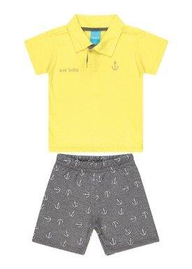 conjunto polo e bermuda bebe masculino naval amarelo kamylus 12101