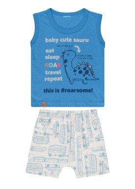 conjunto regata e bermuda bebe masculino cute sauru azul kamylus 12097