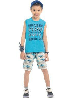 conjunto regata e bermuda infantil masculino surf club azul kamylus 12164