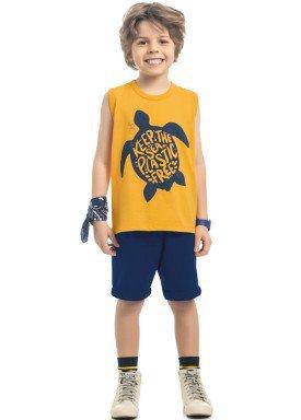 conjunto regata e bermuda infantil masculino turtle amarelo kamylus 12158