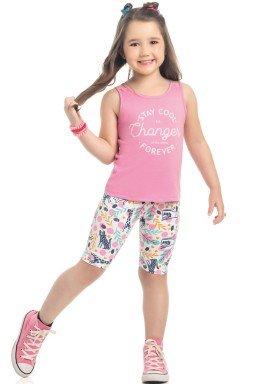 conjunto regata e ciclista infantil feminino changer rosa kamylus 10310 1
