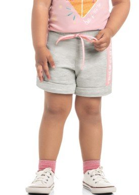 short moletinho infantil feminino be fun mescla kamylus 10294