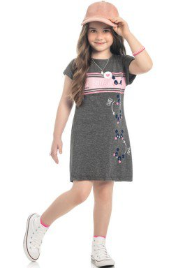 vestido meia malha infantil feminino panda mescla kamylus 10314