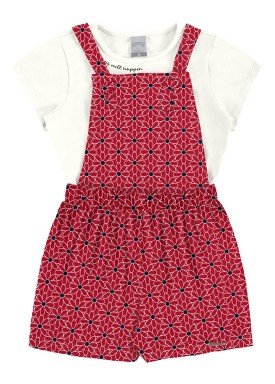 conjunto macaquinho e blusa infantil feminino flores vermelho alakazoo 31725