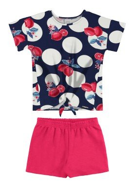 conjunto blusa e short infantil feminino lemons marinho alakazoo 16068
