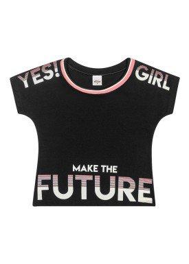 blusa meia malha infantil feminina future preto elian 251452