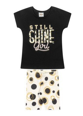 conjunto blusa e ciclista infantil feminino shine preto elian 231503