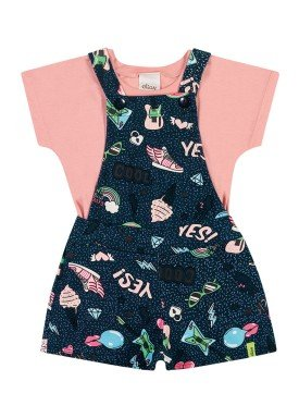 conjunto blusa e jardineira infantil feminino yes rosa elian 231494