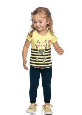 conjunto blusa e legging infantil feminino gatinha amarelo elian 231509 1