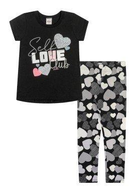 conjunto blusa e legging infantil juvenil feminino self love preto elian 251440