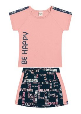 conjunto blusa e saia infantil feminino be happy rosa elian 251446