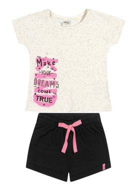 conjunto blusa e short infantil feminino dreams natural elian 251436