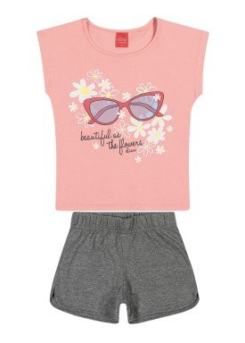 conjunto blusa e short infantil feminino flowers rosa elian 251392