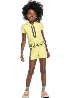 conjunto blusa e short infantil feminino influencer amarelo elian 251450 1