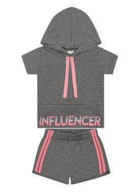 conjunto blusa e short infantil feminino influencer mescla elian 251450