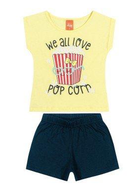 conjunto blusa e short infantil feminino popcorn amarelo elian 231438