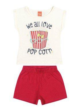 conjunto blusa e short infantil feminino popcorn natural elian 231438