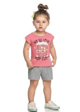 conjunto blusa e short infantil feminino popcorn rosa elian 231438 1