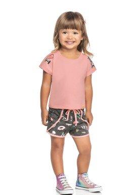 conjunto blusa e short infantil feminino rock rosa elian 231495 2