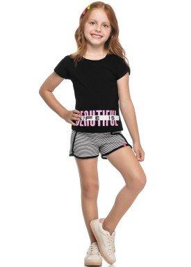 conjunto blusa e short infantil juvenil feminino beautiful preto elian 251435 1