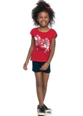 conjunto blusa e short infantil juvenil feminino flowers vermelho elian 251392 1
