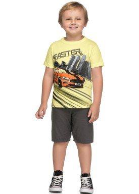 conjunto camiseta e bermuda infantil juvenil masculino faster amarelo elian 241025 1