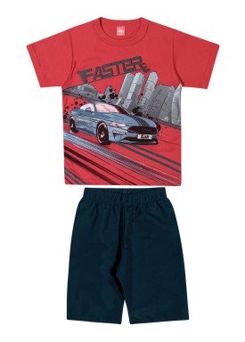 conjunto camiseta e bermuda infantil juvenil masculino faster vermelho elian 241025