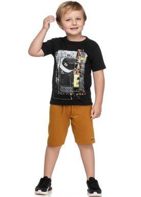 conjunto camiseta e bermuda infantil juvenil masculino free preto elian 241053 1