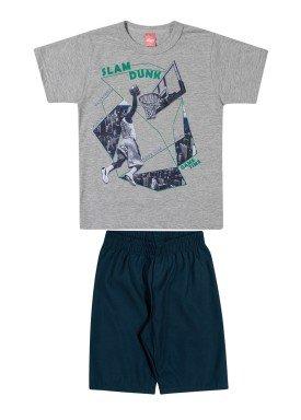 conjunto camiseta e bermuda infantil juvenil masculino slam dunk mescla elian 241028
