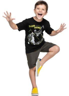 conjunto camiseta e bermuda infantil juvenil masculino slam dunk preto elian 241028 1