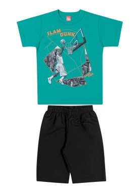 conjunto camiseta e bermuda infantil juvenil masculino slam dunk verde elian 241028