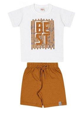 conjunto camiseta e bermuda infantil masculino best branco elian 221134