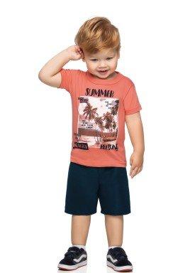 conjunto camiseta e bermuda infantil masculino vacation laranja elian 221137 1