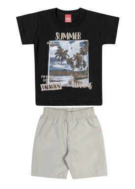 conjunto camiseta e bermuda infantil masculino vacation preto elian 221137