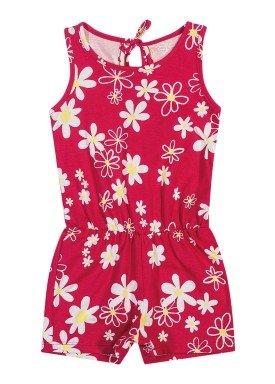 macaquinho meia malha infantil feminino floral vermelho elian 231517