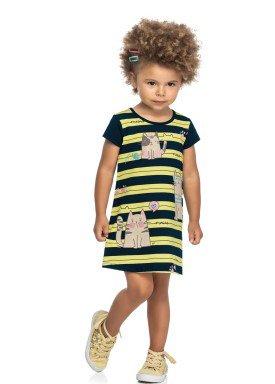 vestido cotton infantil feminino meow amarelo elian 231507 1