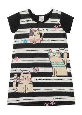 vestido cotton infantil feminino meow preto elian 231507