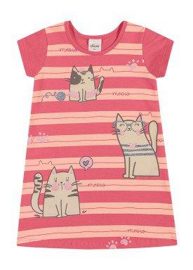 vestido cotton infantil feminino meow rosa elian 231507
