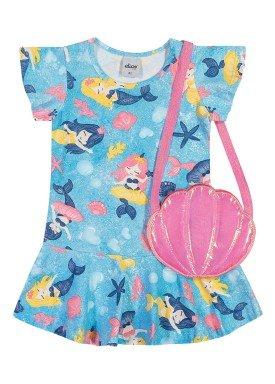 vestido e bolsa cotton infantil feminino sereias azul elian 231511