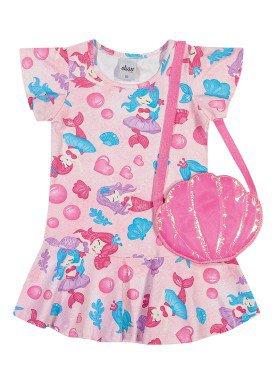 vestido e bolsa cotton infantil feminino sereias rosa elian 231511