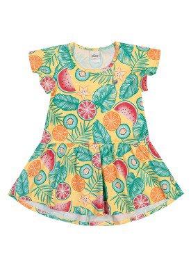 vestido meia malha infantil feminino frutas amarelo elian 231424