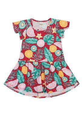 vestido meia malha infantil feminino frutas vermelho elian 231424