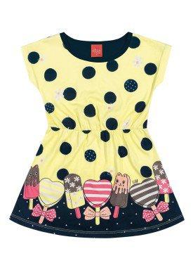 vestido meia malha infantil feminino picoles amarelo elian 231436