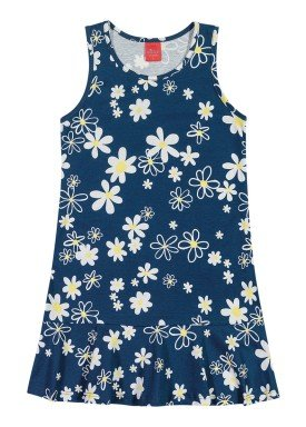 vestido meia malha infantil juvenil feminino floral marinho elian 251391