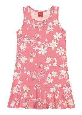 vestido meia malha infantil juvenil feminino floral rosa elian 251391
