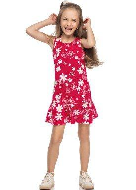 vestido meia malha infantil juvenil feminino floral vermelho elian 251391 1