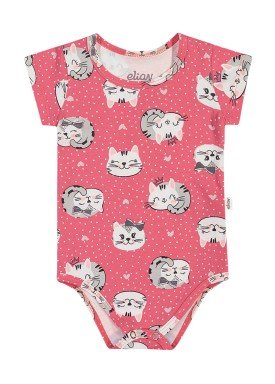 body cotton bebe feminino gatinhos goiaba elian 211171