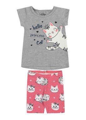 conjunto blusa e ciclista bebe feminino hello princess mescla elian 211154