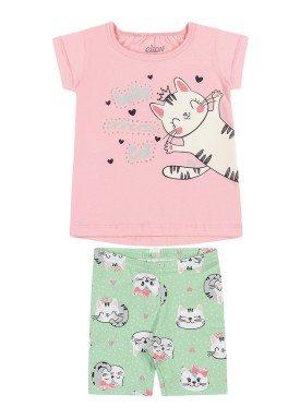 conjunto blusa e ciclista bebe feminino hello princess rosa elian 211154
