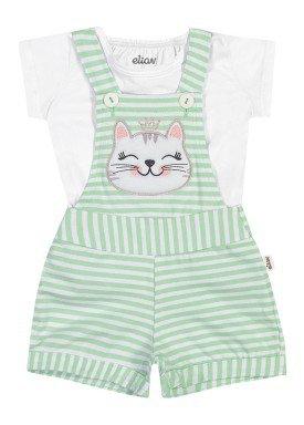 conjunto blusa e jardineira bebe feminino gatinha branco elian 211156